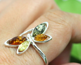 Natural Baltic Amber Sterling Silver Ring size 8 code GI 594