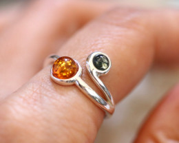 Natural Baltic Amber Sterling Silver Ring size 8 code GI 628