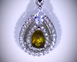 Sphene .80ct White Gold Finish Solid 925 Sterling Silver Pendant