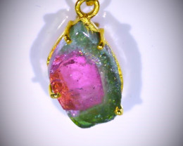 Watermelon Tourmaline 6.70ct Solid 18K Yellow Gold Pendant