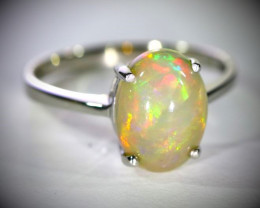 Welo Opal 3.32ct Platinum Finish Solid 925 Sterling Silver Ring