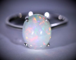 Precious Opal 4.40ct Platinum Finish Solid 925 Sterling Silver Ring