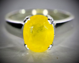 Yellow Sapphire 2.20ct Platinum Finish Solid 925 Sterling Silver Ring