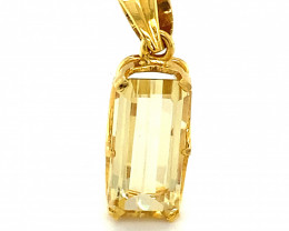 Yellow Scapolite 3.76ct 18K Solid Yellow Gold Pendant,Natural,Untreated,New