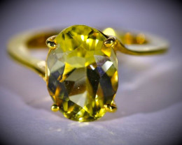 Yellow Scapolite 5.42ct Solid 18K Yellow Gold Ring