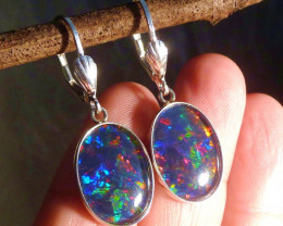 Hand Crafted Australian Opal and Sterling Silver Earrings (3567)