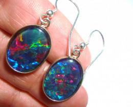 Hand Made Australian Triplet Opal and Sterling Silver Earrings