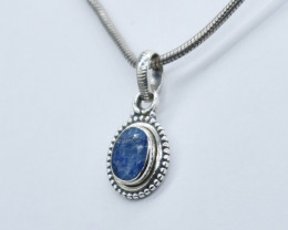 BLUE SAPPHIRE PENDANT 925 STERLING SILVER NATURAL GEMSTONE JP242