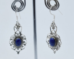 LAPIS EARRINGS 925 STERLING SILVER NATURAL GEMSTONE E64