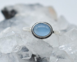 CHALCEDONY RING 925 STERLING SILVER NATURAL GEMSTONE JR1071