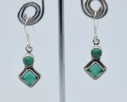 GREEN ONYX EARRINGS 925 STERLING SILVER NATURAL GEMSTONE E65