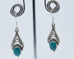 TURQUOISE EARRINGS 925 STERLING SILVER NATURAL GEMSTONE E66