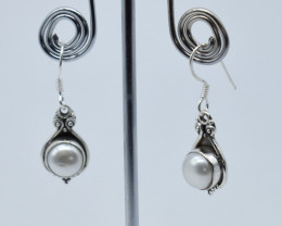 PEARL EARRINGS 925 STERLING SILVER NATURAL GEMSTONE E67