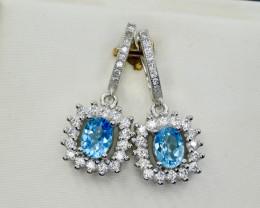 Natural Topaz, CZ and 925 Silver Earring, Elegant Design