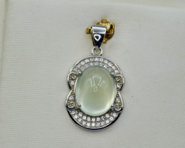Natural Prehnite, CZ and 925 Silver Pendant, Elegant Design