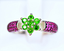 Natural Chrome Diopside, enough CZ  925 Silver Ring