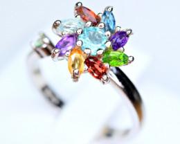 Natural Multi color Natural stones 925 Silver Ring