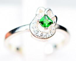 Natural highest color 2.5mm  Clean Tsavorite Green Garnet 925 Silver Ring