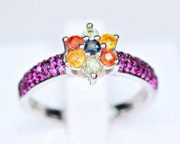Natural Multi Sapphire, enough CZ 925 Silver Ring
