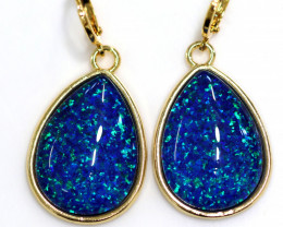 Australian made Lab Opal Sea Blue Earrings 24K Gold Plated CCC 1511