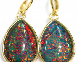 Australian made Lab Opal Multi Fire Earrings 24K Gold Plated CCC 1512