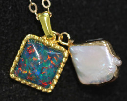 Sea Collection -Baroque Pearl & Opal   Pendant  24k Gold Plated  CCC 1513