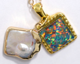 Sea Collection -Baroque Pearl & Opal   Pendant  24k Gold Plated  CCC 1514