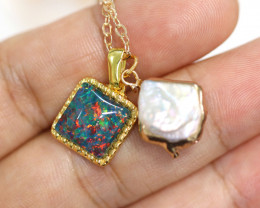 Sea Collection -Baroque Pearl & Opal   Pendant  24k Gold Plated  CCC 1515