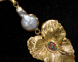 Hibicus design  -Baroque Pearl & Opal   Pendant  24k Gold Plated  CCC 1519