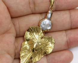 Hibicus design  -Baroque Pearl & Opal   Pendant  24k Gold Plated  CCC 1520