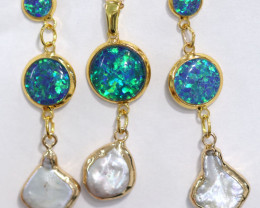 Sea Collection -Baroque Pearl & Opal 3Pc Set 24k Gold Plated CCC 1534