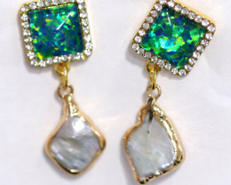 Sea Collection  -Baroque Pearl & Opal Earrings 24k Gold Plated  CCC 1536