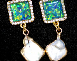 Sea Collection  -Baroque Pearl & Opal Earrings 24k Gold Plated  CCC 1537