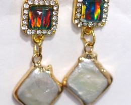 Sea Collection  -Baroque Pearl & Opal Earrings 24k Gold Plated  CCC 1542