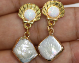Sea Collection -Baroque Pearl & Opal Earrings 24k Gold Plated CCC 1550