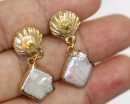 Sea Collection -Baroque Pearl & Opal Earrings 24k Gold Plated CCC 1553