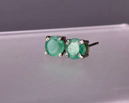 Natural Emerald 925 Silver Earring/Stud