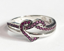 Silver 925 Heart Shape Pink Color Ring