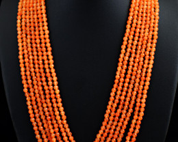Genuine 497.00 Cts 7 Line Onyx Faceted Beads Necklace