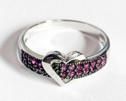 Silver 925  Multi Pink Stone Heart Shape Ring