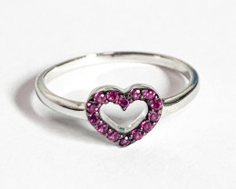 Multi Pink Stones Heart Shaped Ring Silver 925