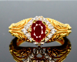 17.90 Ct Silver Ring ~ With  Ruby ~ Gold Plated
