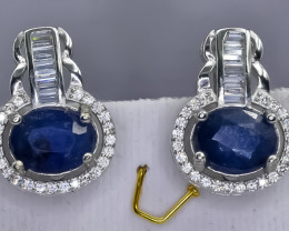 36.64 Crt Natural Sapphire 925 Sterling Silver Earrings