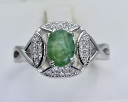 20.81 Crt Natural Emerald 925 Sterling Silver Ring