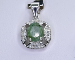 10.61 Crt Natural Emerald  925 Sterling Silver Pendant