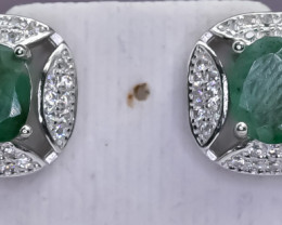 20.04 Crt Natural Emerald  925 Sterling Silver Earrings