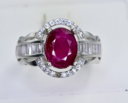 24.22 Crt Natural Ruby 925 Sterling Silver Ring