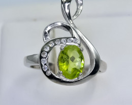 17.69 Crt Natural Peridot 925 Sterling Silver Ring