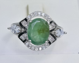 23.06 Crt Natural Emerald 925 Sterling Silver Ring