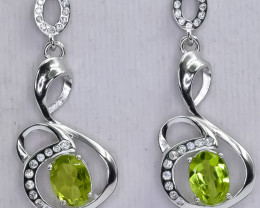 20.43 Crt Natural Peridot 925 Sterling Silver Earrings